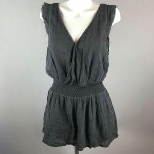 Free People Dark Grey Sleeveless Romper Shorts M